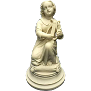 REDUCED Antique Parian Bisque Sculpture Neo-Classical pose of Girl with Lyre C. 1880-1910