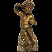 Delightful Vintage Seated Cherub or Putti Statue