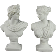 SOLD Exquisite Antique English Parian Classical Busts of Diana and Apollo C. 1880-1910