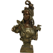 REDUCED Antique French Art Nouveau Bust of NINON by Antoni Nelson C. 1880-1900