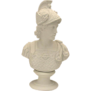Large Fine Vintage Parian Bisque Bust of Classical Warrior by Westwood