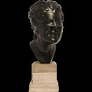 Very Nice Vintage Italian Metal Bust of Blind Hero on Triple Tiered Marble or Stone Plinth - Artist Signed