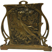 REDUCED Exquisite Large Antique French Bronzed Art Nouveau Maiden Book-Rack. Un-Signed. C. 190