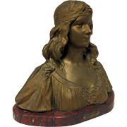 REDUCED Wonderful Antique Art Nouveau Belgian or French Bust of Italian Maiden by Henri Jacobs