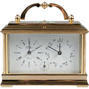 A French Gilt Bronze Carriage Clock with Early Calendar L. Epeef Signed