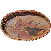 Unique Vintage Old Wicker Tray with Folky Hand-painted Moths