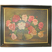 Date 1935 and Signed Rose Painting Oil On Board