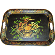 Vintage Stenciled Toleware Fall Harvest Tray