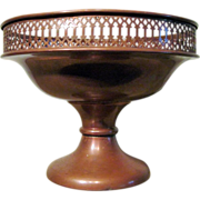 Vintage Copper Color Metal Reticulated Rim Footed Compote
