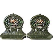 Cast Iron CJO Judd Company Fruit Basket Bookends 1930's