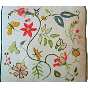 Vintage Crewel Needle Work Pillow