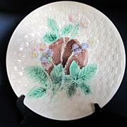 "Circa 19th Century Decorative Majolica Plate Blackberry 10 1/4"" Diameter"