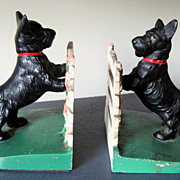Cast Iron 1930's Hubley Bookends Scotty at the Fence