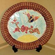 19th C. Majolica English Bread Platter Bird & Prunus