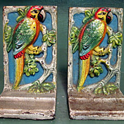 Pair of 1930's Cast Iron Parrot Bookends