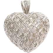 Diamond Heart Pendant | 18K White Gold | Vintage Brilliant Cut Pave