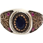 Mens Sapphire Ruby Ring | Sterling Silver Gilt | Vintage Gents Floral