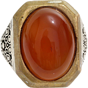 Cabochon Carnelian Mens Ring | Sterling Silver Solitaire | Vintage 925