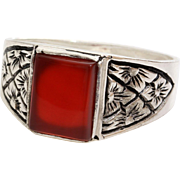 Mens Carnelian Ring | Sterling Silver Solitaire | Vintage Rectangular