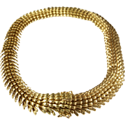 Gold Choker Necklace | 18K Yellow Links | Vintage Swiss Chunky Retro