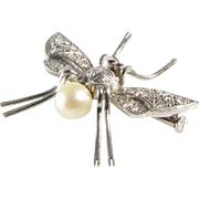 Art Deco Insect Brooch | Platinum Diamond Ruby Pearl | Vintage Winged