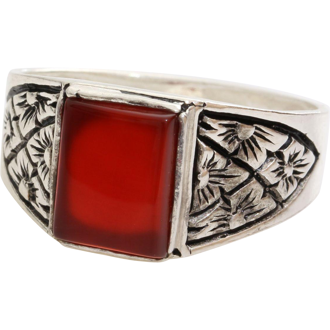 mens carnelian ring sterling silver solitaire vintage