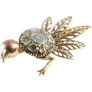 Ostrich Victorian Brooch | 14K Yellow Gold Diamond | Antique Bird Pin