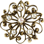 Star Pendant Brooch | 14K Gold Cultured Pearl | Vintage Pin Anise
