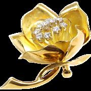 Flower Brooch Pendant | 18K Yellow Gold Diamond | Vintage Floral Pin