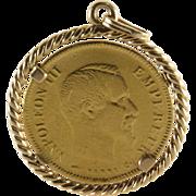 10 Francs Coin Pendant | 21K Gold Napoleon III | Second Empire 1864 A