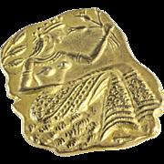 Vintage Sterling Silver Brooch | Canaanite Women Pin | Israel Gilt