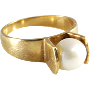 Retro Pearl Ring | 14K Yellow Gold | Cultured Cocktail Vintage USA