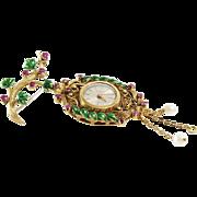 Art Deco Watch Brooch | 18K Gold Ruby Pearl | Swiss Vintage Enamel Pin