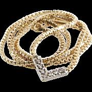 Diamond Choker Necklace   14K White Yellow Gold   Vintage Two Tone