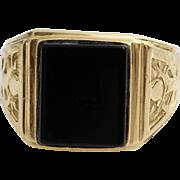 Mens Retro Onyx Ring | 14K Yellow Gold | Vintage Israel Gents Jewelry