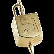 Dreidel Charm Pendant | 14K Yellow Gold | Vintage Israel Teetotum