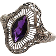 Amethyst Ring | Sterling Silver Filigree | Vintage Purple Israel