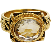 Citrine Cocktail Ring | Gilt Sterling Silver | Yellow Vintage Israel