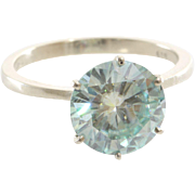 Green Moissanite Engagement Ring | 14K White Gold | Vintage Solitaire