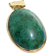 Eilat Stone Pendant | 14K Yellow Gold | Vintage Solitaire Oval Israel