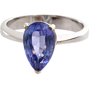 Tanzanite Engagement Ring | 14K White Gold | Vintage Pear Cut Blue