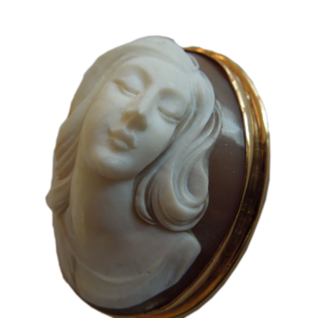 Vintage 14k Gold Cameo Woman's Profile