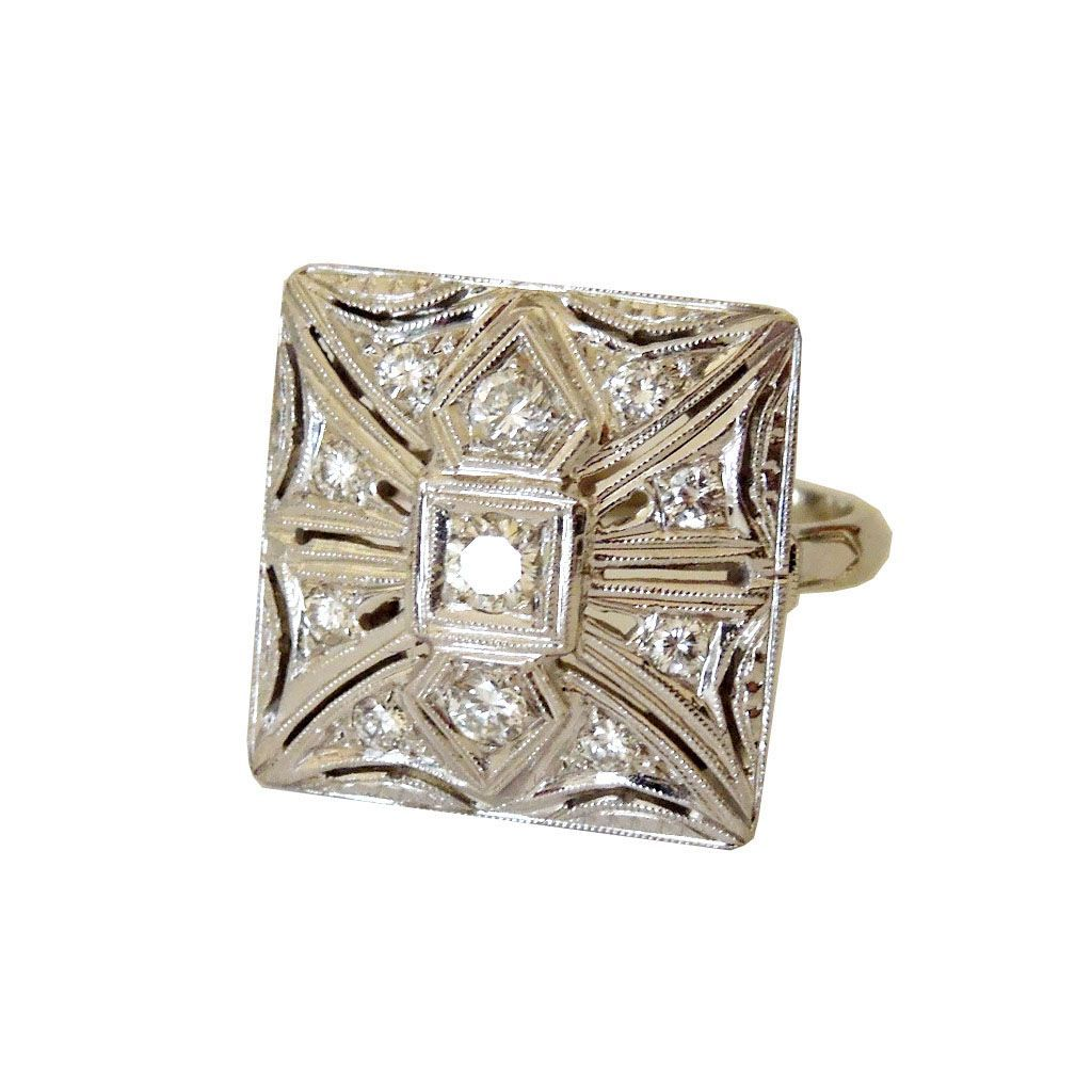 1940 39 s art deco square top 14k and diamond ring from cometiques on ruby lane. Black Bedroom Furniture Sets. Home Design Ideas