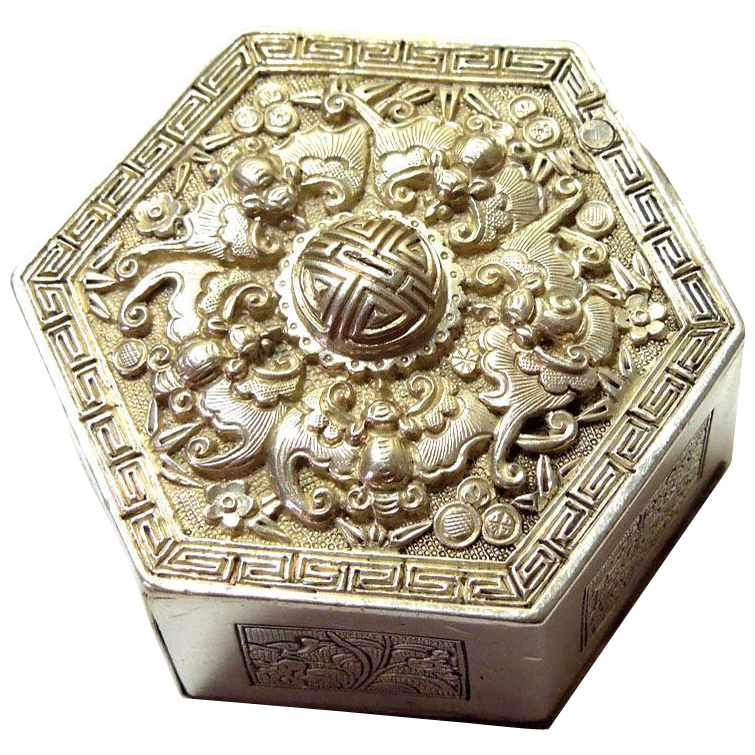 19th Century Chinese Hexagon Silver Box