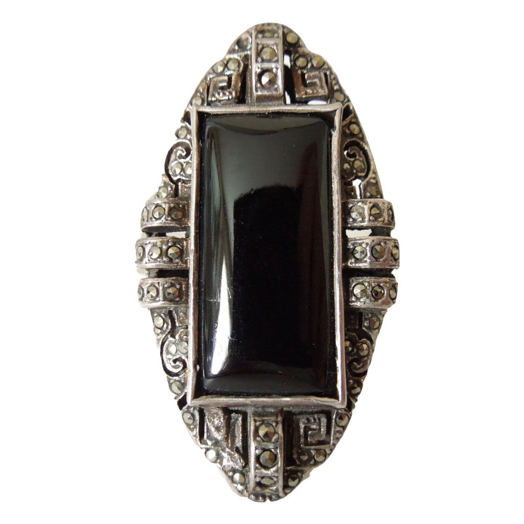 Vintage Art Deco Sterling Onyx and Marcasite Ring