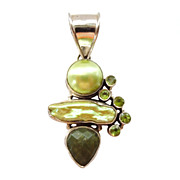 Sterling Green Costume Stones Pendant