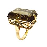 14K Gold Smoky Brown Topaz Ring