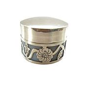 Vintage Sterling Overlay Milk Glass Jar