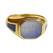 Antique European1 8K  Intaglio Chalcedony Ring with Lapis Accents