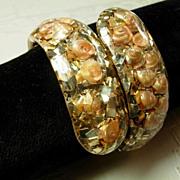 Seashshell and Gold Confetti Lucite Clamper Bracelet